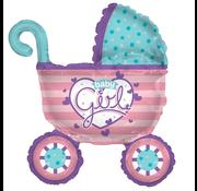 Ballon roze kinderwagen