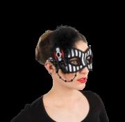 Dames steampunk oogmasker zwart wit