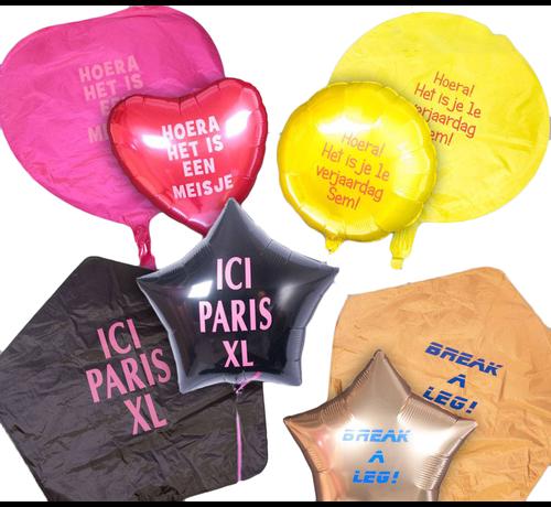 Bedrukte folie ballon met tekst (zonder helium)