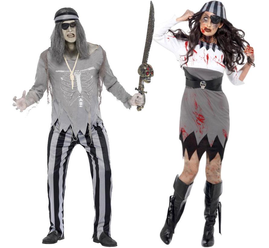 Zombie kostuum heren piraat geest