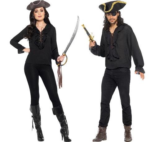 Uniseks  Piraat shirt zwart
