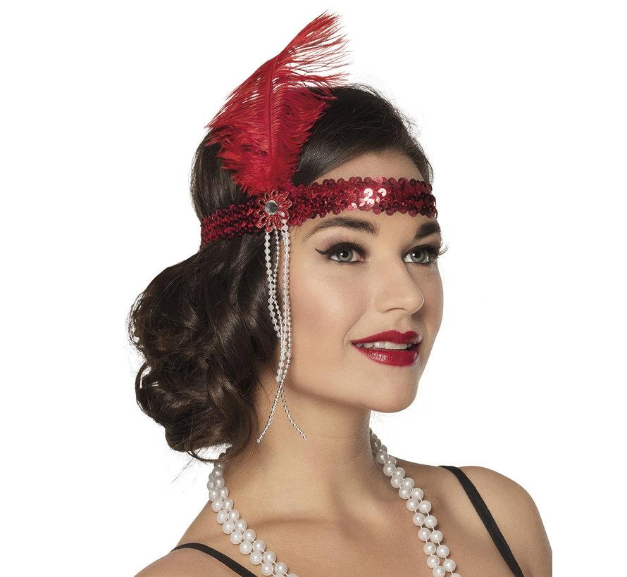 Flapper hoofdband rood gekleurd
