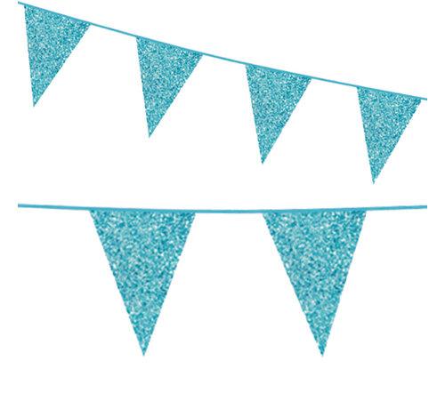 Glitter babyblauw kartonnen vlaggenlijn