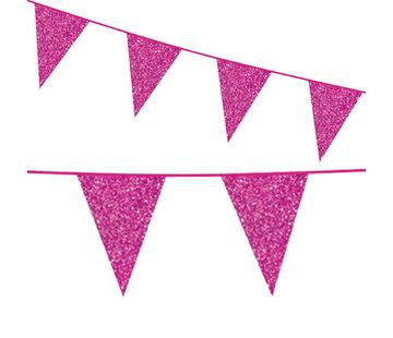 Glitter pink kartonnen vlaggenlijn