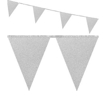 Zilverkleurige glitter vlaggenlijn