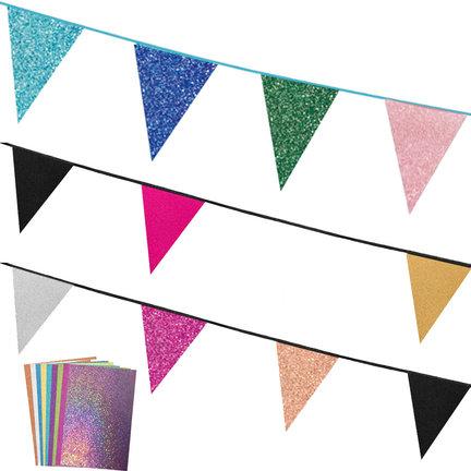 Kartonnen glitter slingers in 11 kleuren