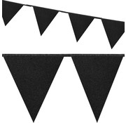 Glitter zwarte vlaggenlijn