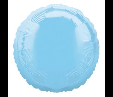 Blanco folieballon rond lichtblauw