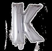 Folieballon letter 'K' zilver
