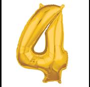Folieballon cijfer 4 goud