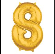 Nummer 8 XL Folieballon goud