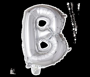 Folieballon letter 'B' zilver