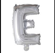 Folieballon letter 'E' zilver