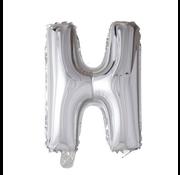 Folieballon letter 'H' zilver