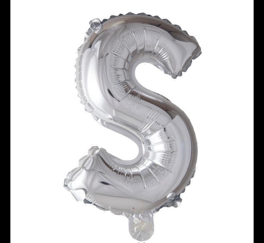 Folieballon letter 'S' zilver