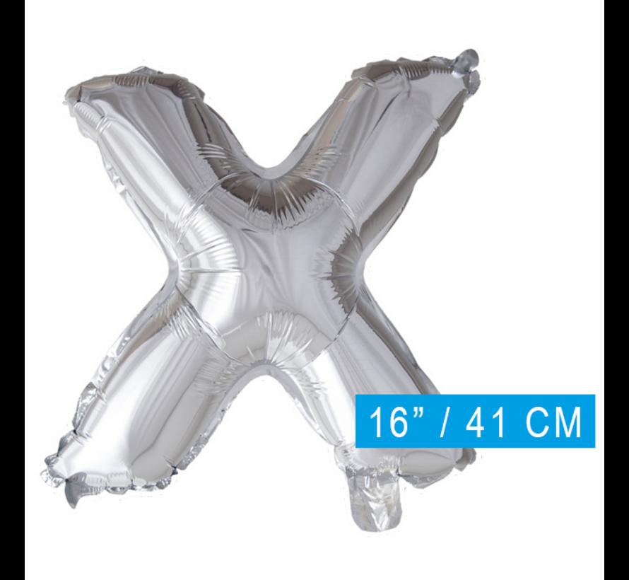 Folieballon letter 'X' zilver