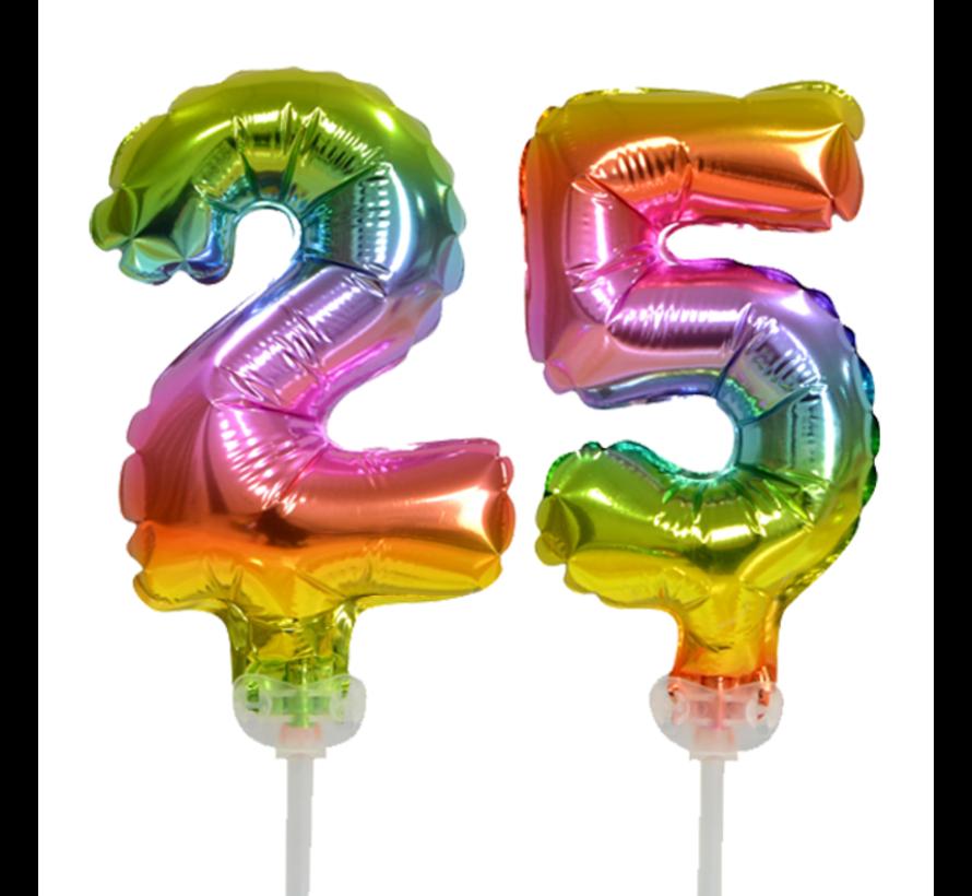 Regenboog taart decoratie ballonnen cijfers 25