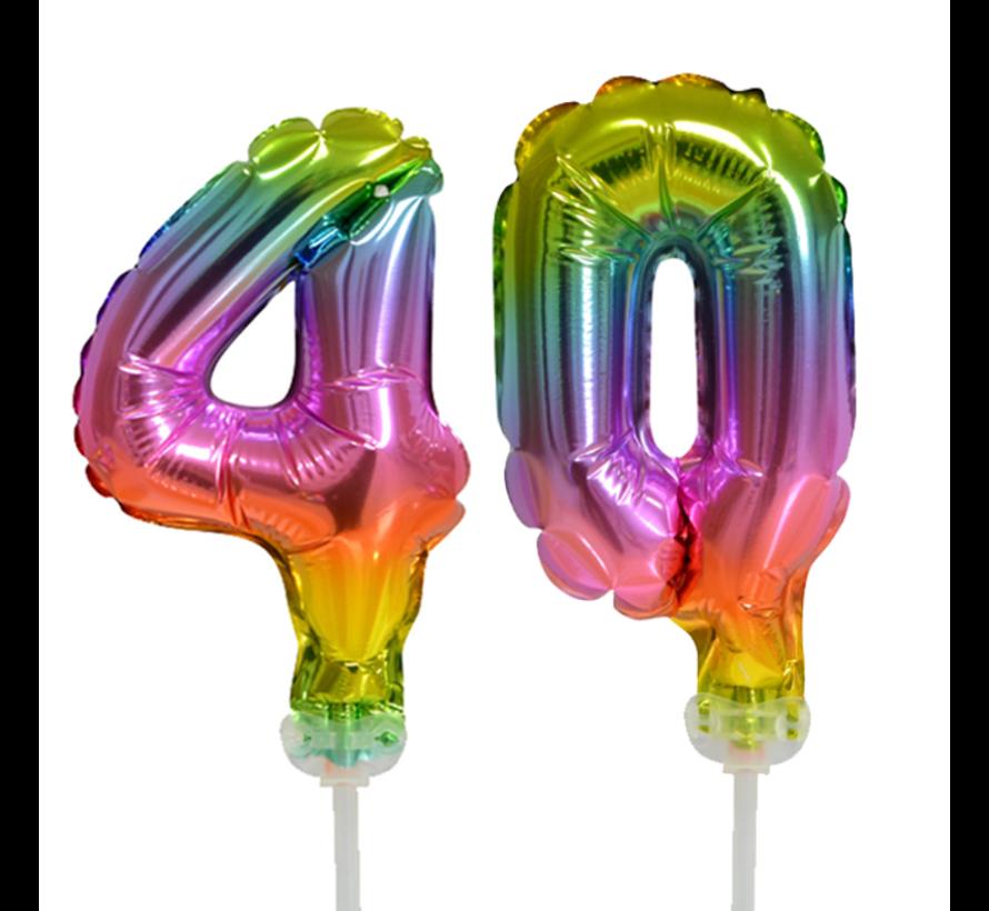 Regenboog taart decoratie ballonnen cijfers 40