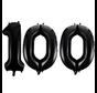 Folie zwarte cijfers 100 ballonnen