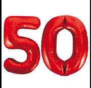 Rode cijfer ballonnen 50