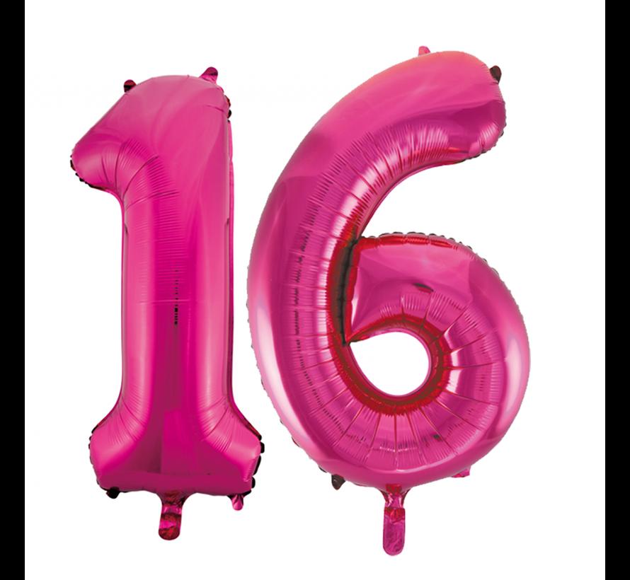 Helium roze cijfer ballonnen 16