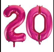 Roze cijfer ballonnen 20