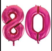 Cijfer ballonnen roze 80