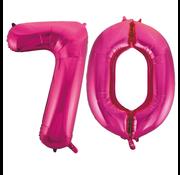 Cijfer ballonnen roze 70