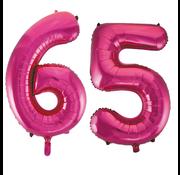 Cijfer ballonnen roze 65