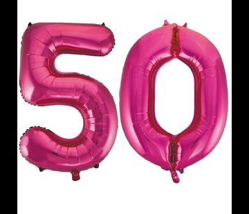 Cijfer ballonnen roze 50