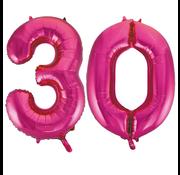 Cijfer ballonnen roze 30