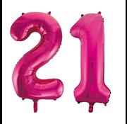 Cijfer ballonnen roze 21