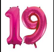 Cijfer ballonnen roze 19