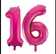 Cijfer ballonnen roze 16
