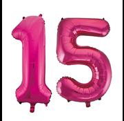 Cijfer ballonnen roze 15
