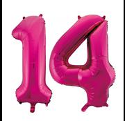 Cijfer ballonnen roze 14