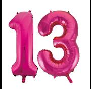 Cijfer ballonnen roze 13