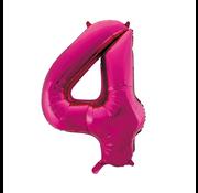 Cijfer ballon roze 4