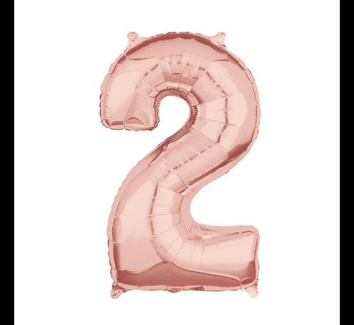 Folie  rosé goud cijfer 2  ballon