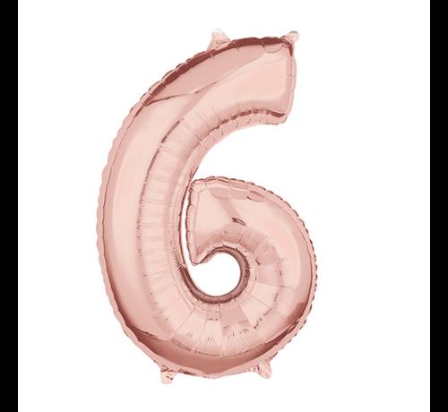 Folie rosé goud cijfer 6 ballon