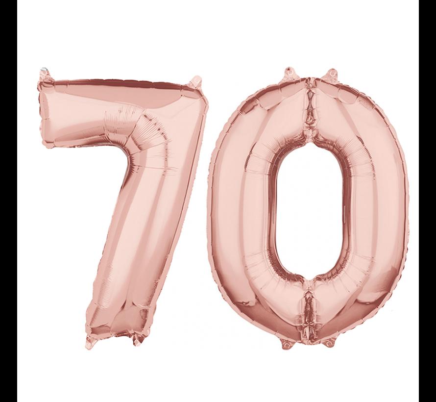 Helium cijfer ballonnen 70  rosé goud