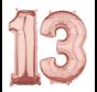 Folie  rosé goud cijfer 13 ballonnen