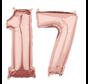 Folie  rosé goud cijfer 17  ballonnen