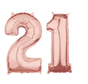 Folie  rosé goud cijfer 21 ballonnen