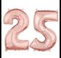 Folie rosé goud cijfer 25  ballon