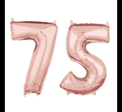 Folie  rosé goud cijfer 75  ballonnen