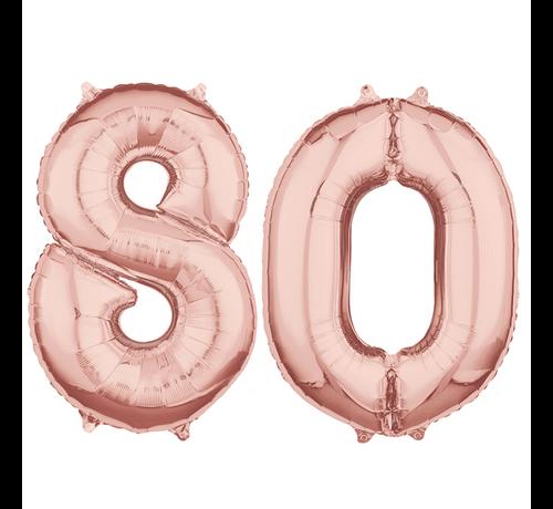 Folie  rosé goud cijfer 80  ballonnen