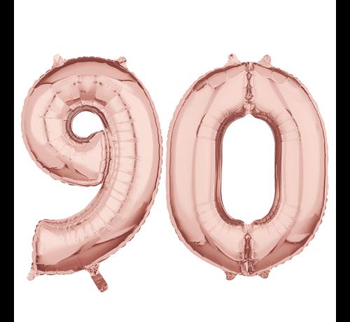 Folie  rosé goud cijfer 90  ballonnen