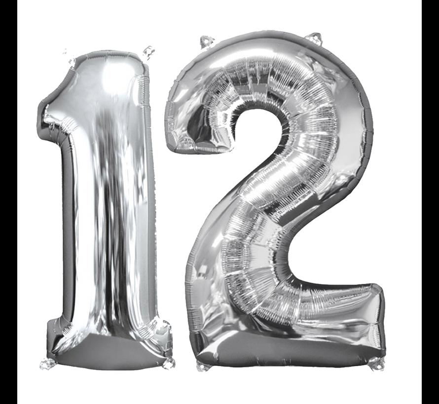 Helium ballonnen cijfers 12 zilver