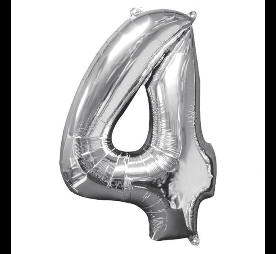 Zilveren folie ballon cijfer 4
